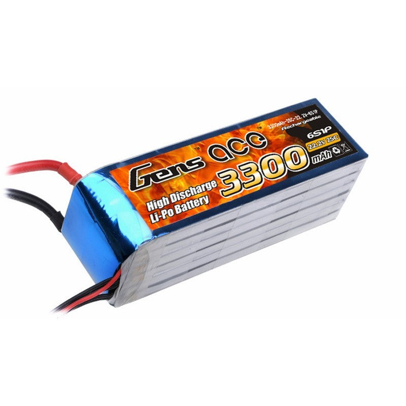 GENS ACE 3300MAH 22.2V 25C 6S1P LIPO BATTERY PACK-Mad 4 Heli