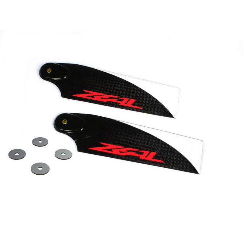LX3002 - ZEAL Carbon Fiber Tail Blades 68mm, Orange Logo-Mad 4 Heli