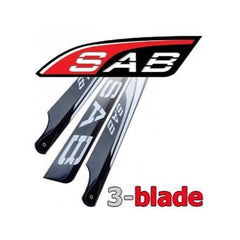 3BL465-3DS 3D SAB Blackline 465mm Main Blades (3 Blade Set)-Mad 4 Heli