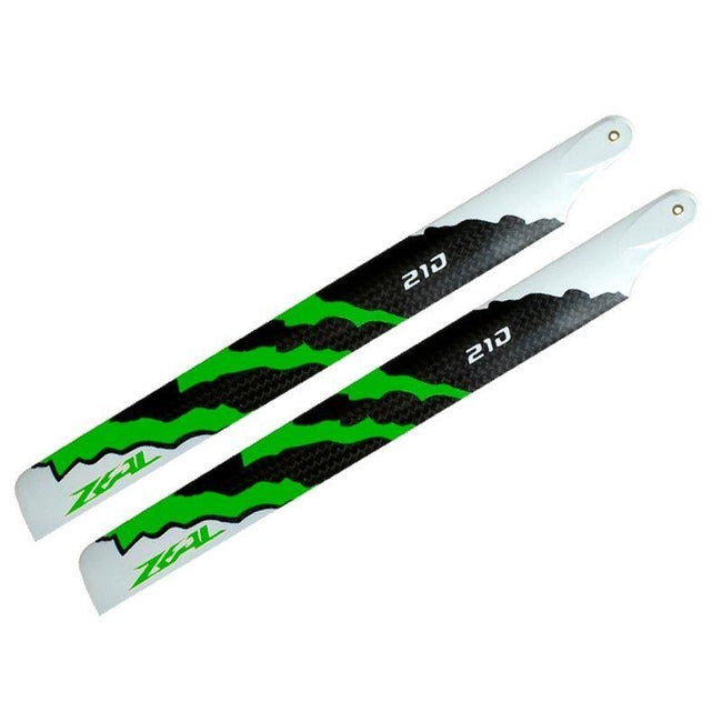 ZHM-NRG210G - ZEAL Carbon Fiber Main Blades 210mm Energy (Green)-Mad 4 Heli