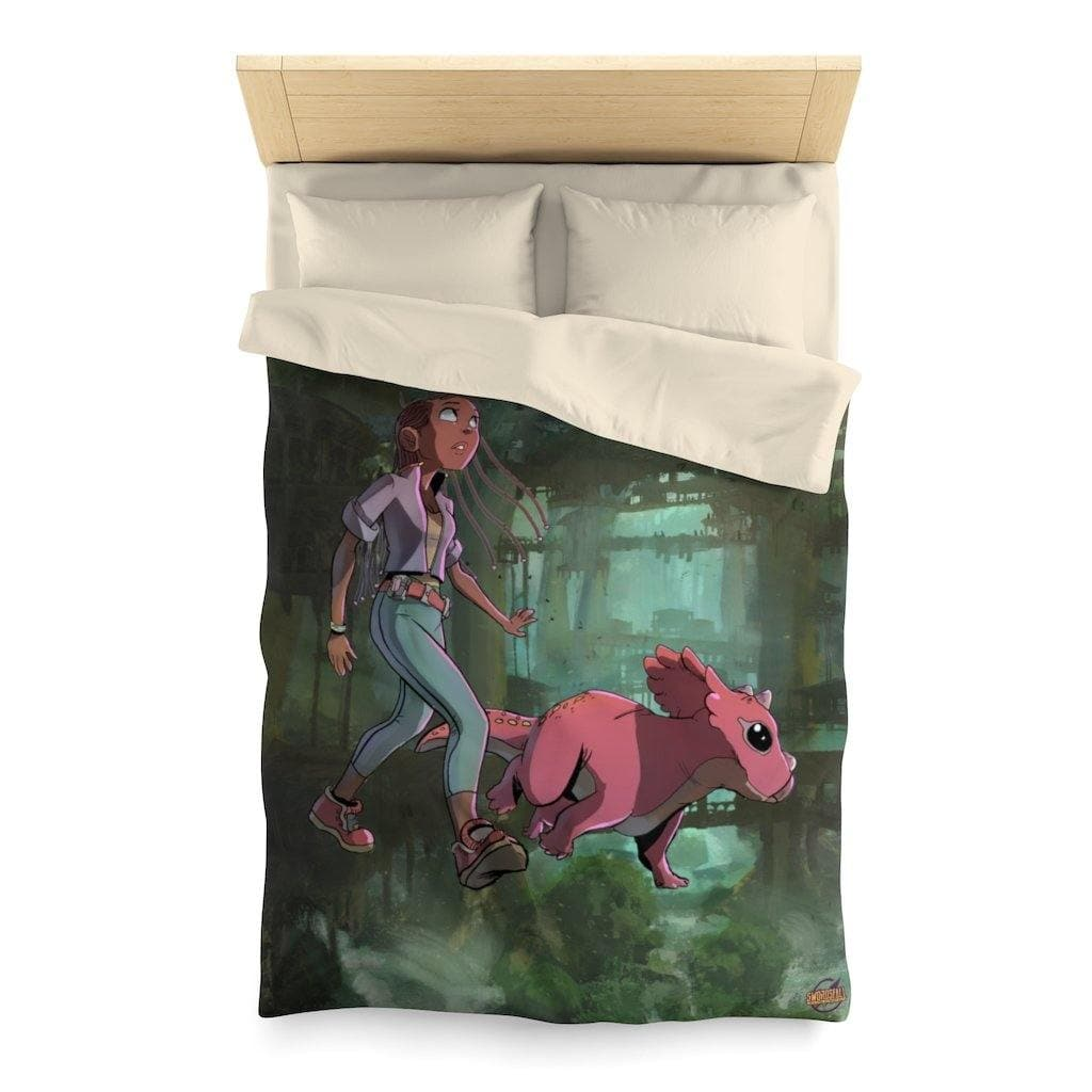 A Girl and her Tritop Duvet Cover - Swordsfall