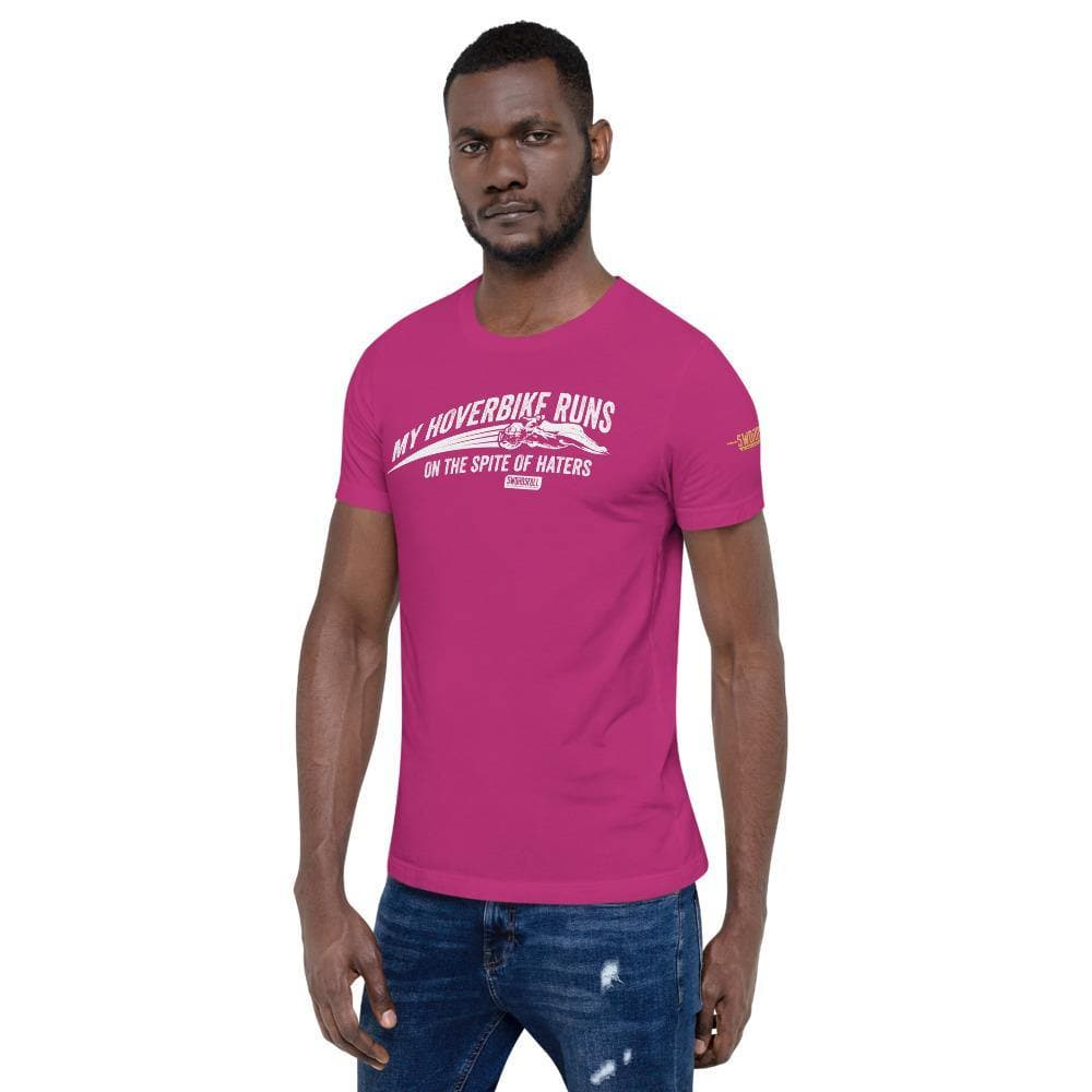 """My Hoverbike Runs on the Spite of Haters"" T-Shirt - Swordsfall"