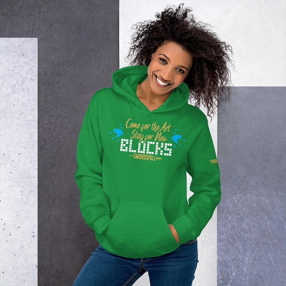 """Come for the Art, Stay for the Blocks"" Premium Hoodie - Swordsfall"