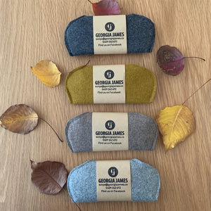 Felted wool slimline glasses case. Handcrafted, wraps around lenses to protect glasses.