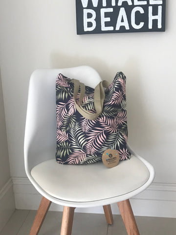 Shopping/Tote Bag - Navy with Palms