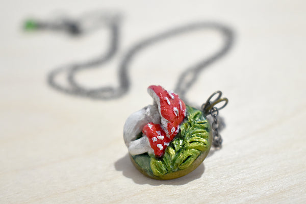 Vintage Whimsical Mushroom Pendant Birthday Gift Nature Lover Handmade Mushroom Statement Necklace on Chain of Ribbon Unique Gift for Her