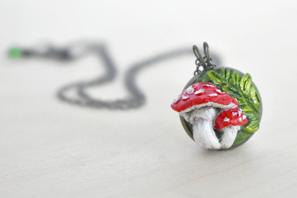 Mushroom Cameo Necklace | Handmade Amanita Mushroom Pendant | Woodland Toadstool Jewelry - Enchanted Leaves - Nature Jewelry - Unique Handmade Gifts