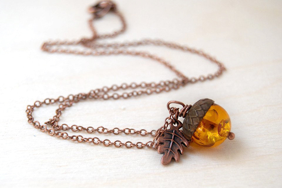 Amber and Copper Acorn Necklace | Nature Jewelry | Fall Acorn Charm Necklace - Enchanted Leaves - Nature Jewelry - Unique Handmade Gifts