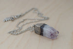 Amethyst Crystal Necklace | Electroformed Crystal | Amethyst Gemstone Necklace - Enchanted Leaves - Nature Jewelry - Unique Handmade Gifts