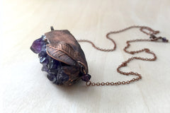 Large Amethyst Crystal and Guava Leaf Necklace