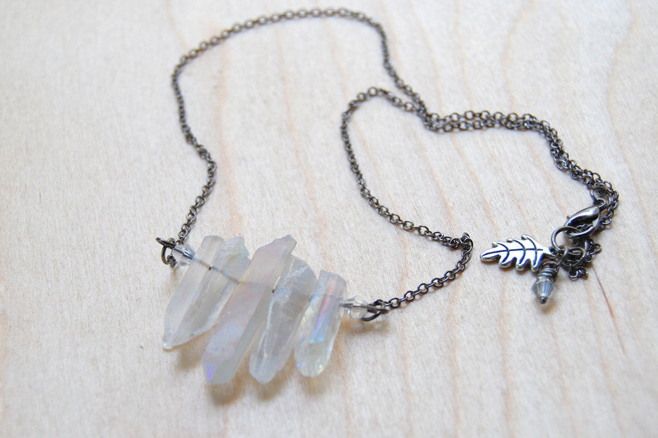 Angel Aura Crystal Point Bib Necklace / Titanium Crystal Necklace - Enchanted Leaves - Nature Jewelry - Unique Handmade Gifts