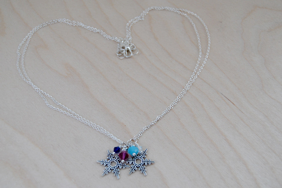 Snowflake Sisters BFF Necklaces | Anna and Elsa Best Friend Necklaces|  -TWO Necklaces- - Enchanted Leaves - Nature Jewelry - Unique Handmade Gifts