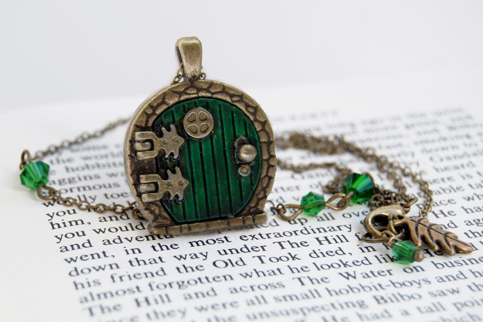 Brass Bag End Hobbit Door Locket | Lord of the Rings Jewelry | Green Hobbit Door Necklace - Enchanted Leaves - Nature Jewelry - Unique Handmade Gifts