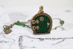 Brass Bag End Hobbit Door Locket | Lord of the Rings Jewelry | Green Hobbit Door Necklace