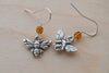 Tiny Silver Bee Earrings - Enchanted Leaves - Nature Jewelry - Unique Handmade Gifts