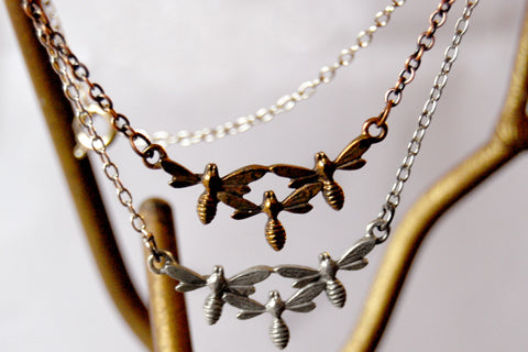 Triple Bee Necklace