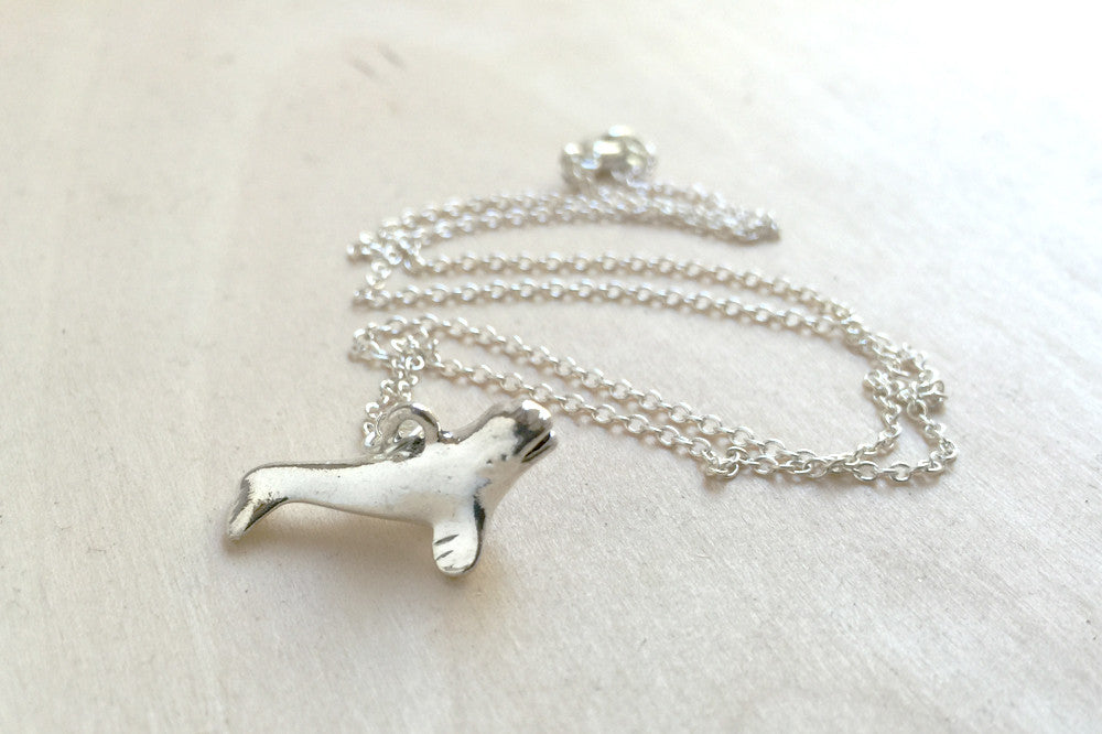 Silver Beluga Whale Necklace | Beluga Charm Necklace | Cute Whale Necklace - Enchanted Leaves - Nature Jewelry - Unique Handmade Gifts