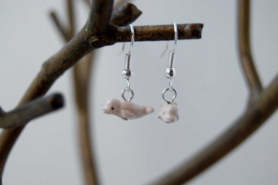 Beluga Whale Earrings | Whale Jewelry | Beluga Charms - Enchanted Leaves - Nature Jewelry - Unique Handmade Gifts