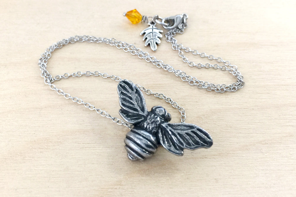 Big Bumble Bee Necklace | Cute Pewter Honey Bee Charm Necklace | Large Bee Pendant - Enchanted Leaves - Nature Jewelry - Unique Handmade Gifts
