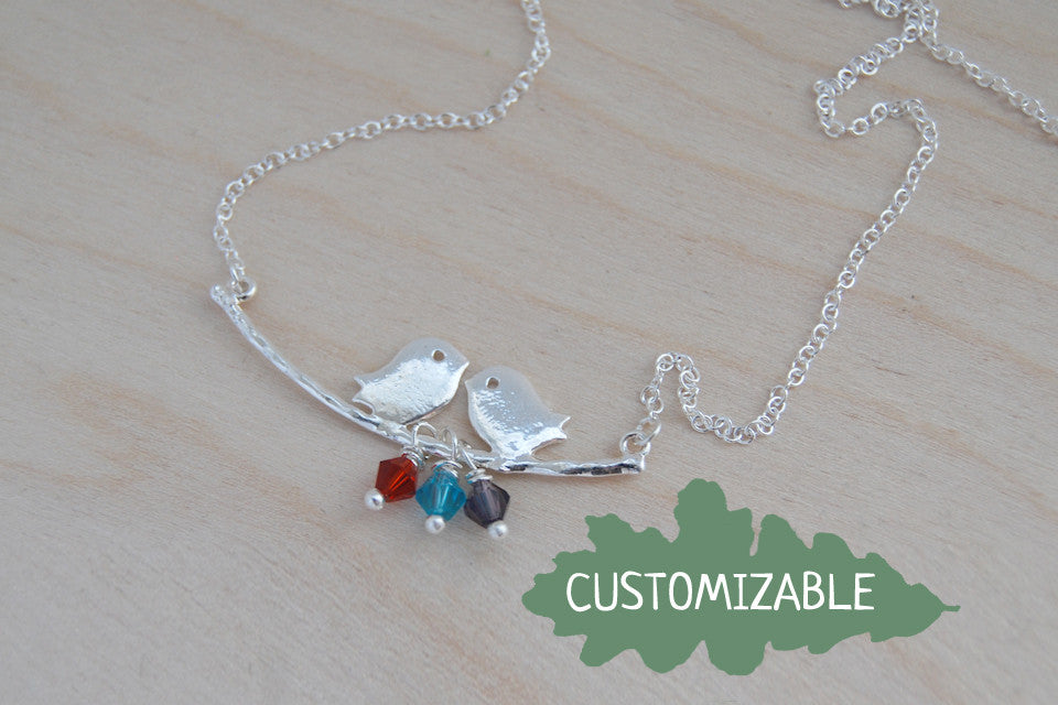 Bird Family Necklace | Silver Bird on Branch | Mother and Child Necklace | Cute Woodland Jewelry - Enchanted Leaves - Nature Jewelry - Unique Handmade Gifts