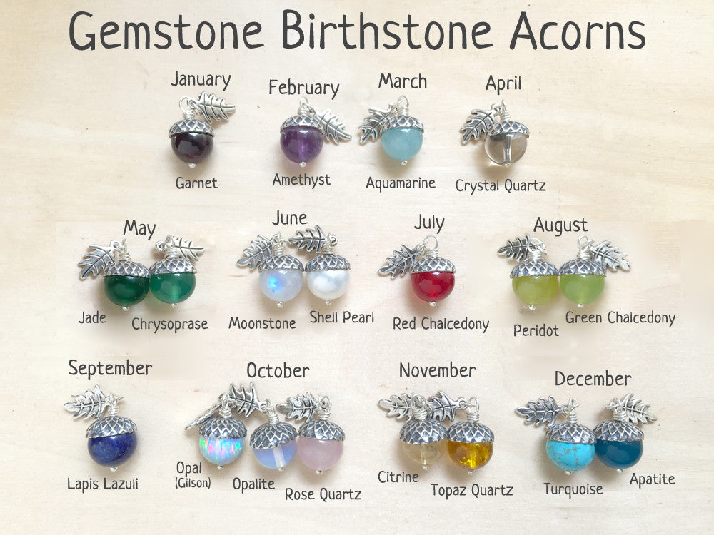 Birthstone Acorn Necklace Your Choice Of Month Birthstone Necklace Enchanted Leaves