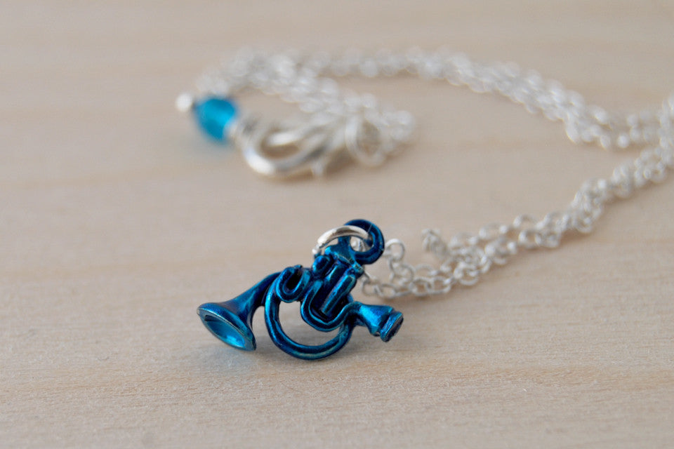 Blue French Horn Necklace | HIMYM Fan Jewelry | Music Charm Necklace - Enchanted Leaves - Nature Jewelry - Unique Handmade Gifts
