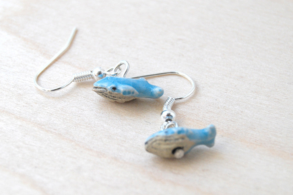 Tiny Blue Whale Earrings - Enchanted Leaves - Nature Jewelry - Unique Handmade Gifts
