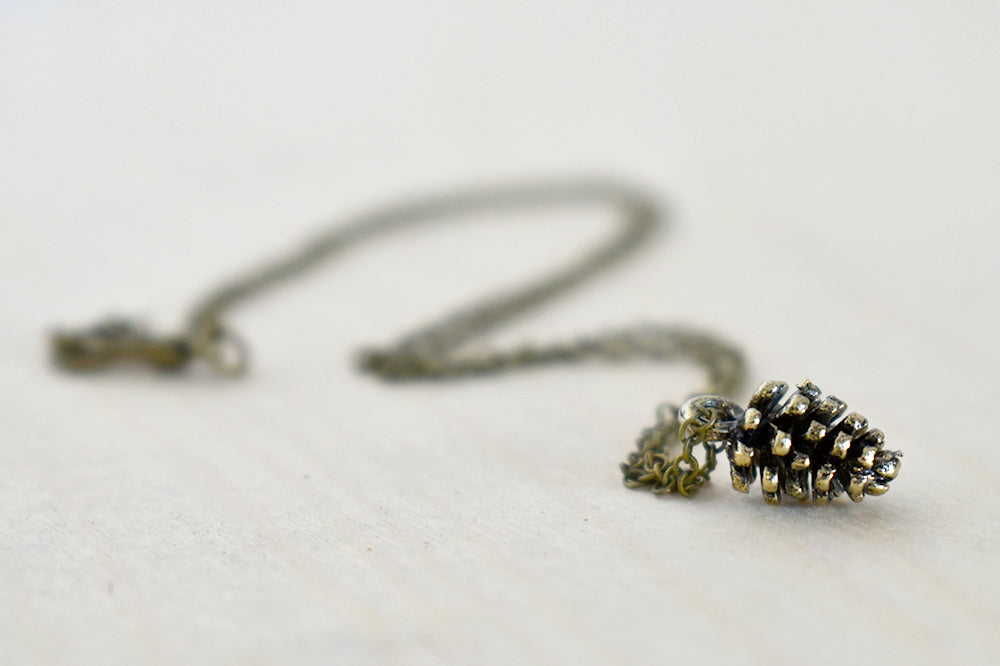 Brass Pine Cone Necklace | Woodland Nature Jewelry | Pinecone Charm Necklace - Enchanted Leaves - Nature Jewelry - Unique Handmade Gifts