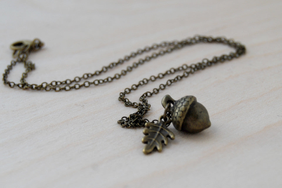 Brass Acorn Charm Necklace | Cute Acorn Charm Necklace | Fall Acorn Jewelry | Woodland Acorn - Enchanted Leaves - Nature Jewelry - Unique Handmade Gifts