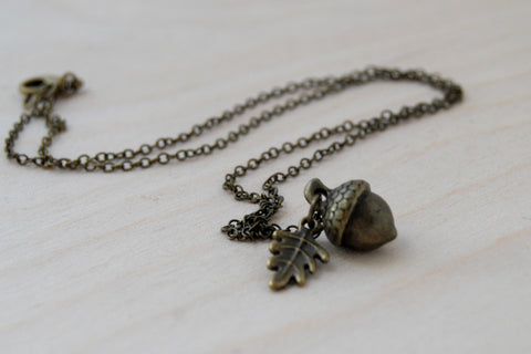 Brass Acorn Charm Necklace