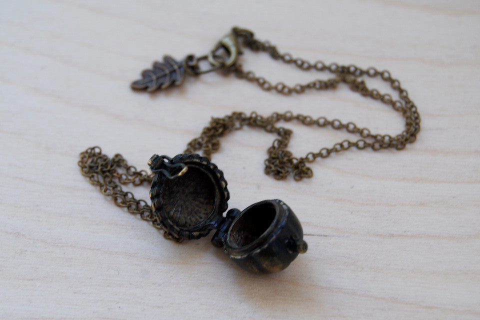 Brass Acorn Locket | Fall Acorn Necklace | Nature Jewelry | Woodland Acorn Locket - Enchanted Leaves - Nature Jewelry - Unique Handmade Gifts