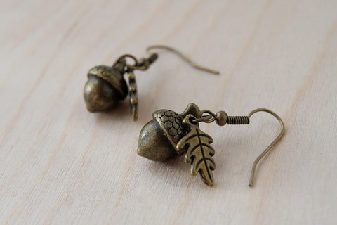 Brass Acorn Charm Earrings | Fall Acorn | Nature Jewelry | Woodland Acorn Earrings