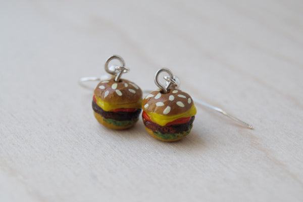 Itty Bitty Burger Earrings | Hamburger Earrings | Cute Burger Charm Earrings - Enchanted Leaves - Nature Jewelry - Unique Handmade Gifts