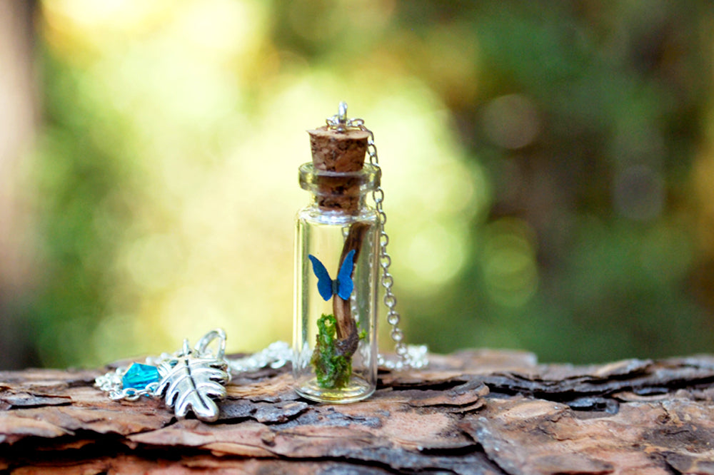 Butterfly Bottle Terrarium | Cute Mini Blue Morpho Butterfly Forest Necklace - Enchanted Leaves - Nature Jewelry - Unique Handmade Gifts