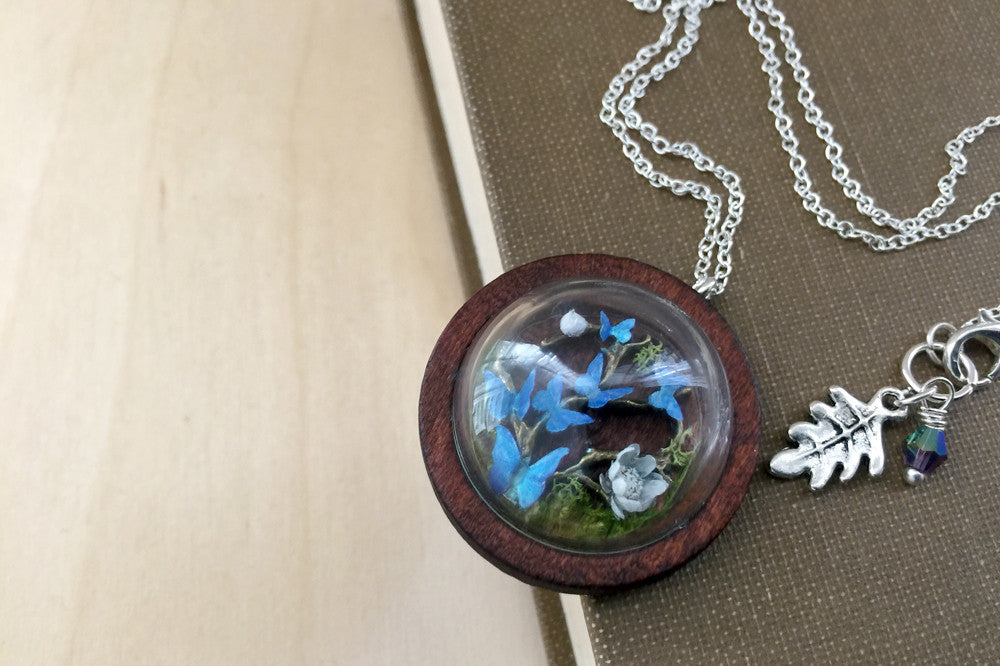 silver store blue product in butterfly and main sterling enamel necklace info