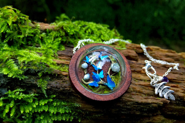 Butterfly Forest Terrarium Necklace | Blue Butterfly | Whimsical Butterfly Necklace - Enchanted Leaves - Nature Jewelry - Unique Handmade Gifts