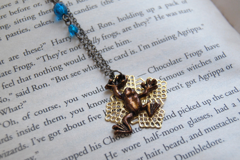 Chocolate Frog Necklace | Harry Potter Necklace | Whimsical Wizarding World Treat - Enchanted Leaves - Nature Jewelry - Unique Handmade Gifts