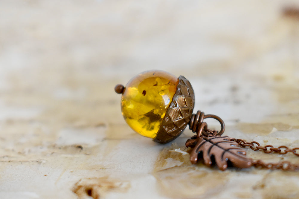 Baltic Amber and Copper Acorn Necklace | Real Amber Necklace | Nature Jewelry | Fall Acorn Charm Necklace - Enchanted Leaves - Nature Jewelry - Unique Handmade Gifts