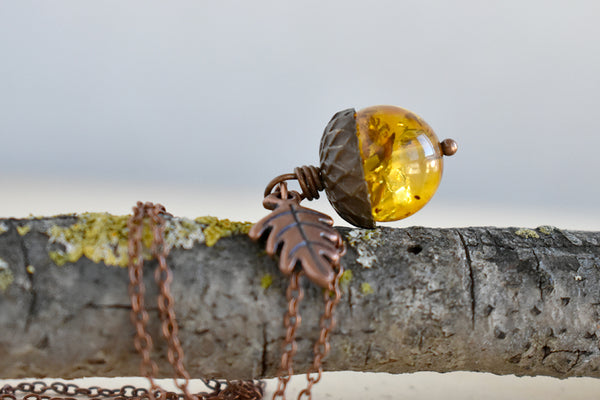 Baltic Amber and Copper Acorn Necklace | Real Amber Necklace | Nature Jewelry | Fall Amber Acorn - Enchanted Leaves - Nature Jewelry - Unique Handmade Gifts