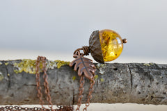 Baltic Amber and Copper Acorn Necklace | Real Amber Necklace | Nature Jewelry | Fall Acorn Charm Necklace