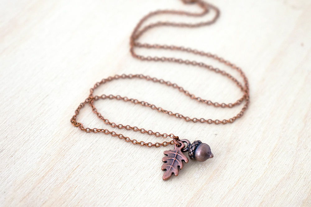 Copper Acorn Charm Necklace | Cute Acorn Charm Necklace | Fall Acorn Jewelry | Woodland Acorn - Enchanted Leaves - Nature Jewelry - Unique Handmade Gifts