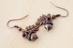 Copper Acorn Charm Earrings | Fall Acorn | Nature Jewelry | Woodland Acorn Earrings - Enchanted Leaves - Nature Jewelry - Unique Handmade Gifts