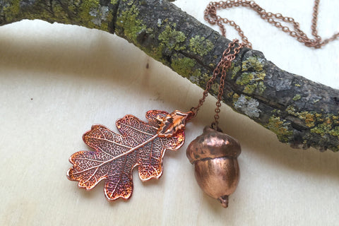 Real Acorn and Oak Leaf Lariat | Electroformed Nature Jewelry | Copper Oak Leaf  Necklace | Fall Wedding
