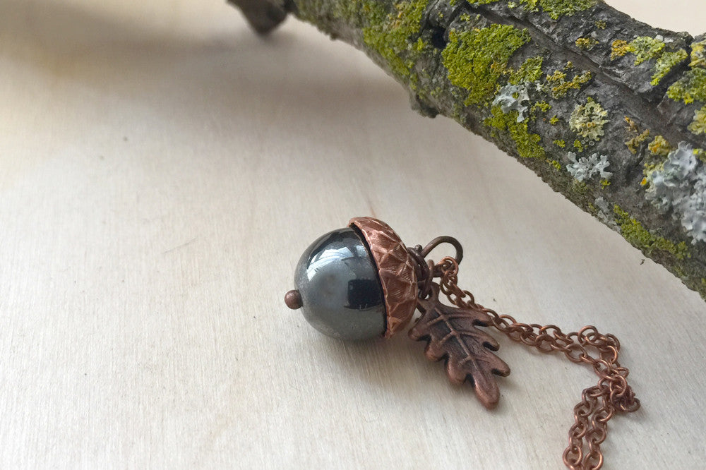 Hematite & Copper Acorn Necklace | Cute Nature Acorn Charm Necklace | Woodland Nature Jewelry Acorn - Enchanted Leaves - Nature Jewelry - Unique Handmade Gifts