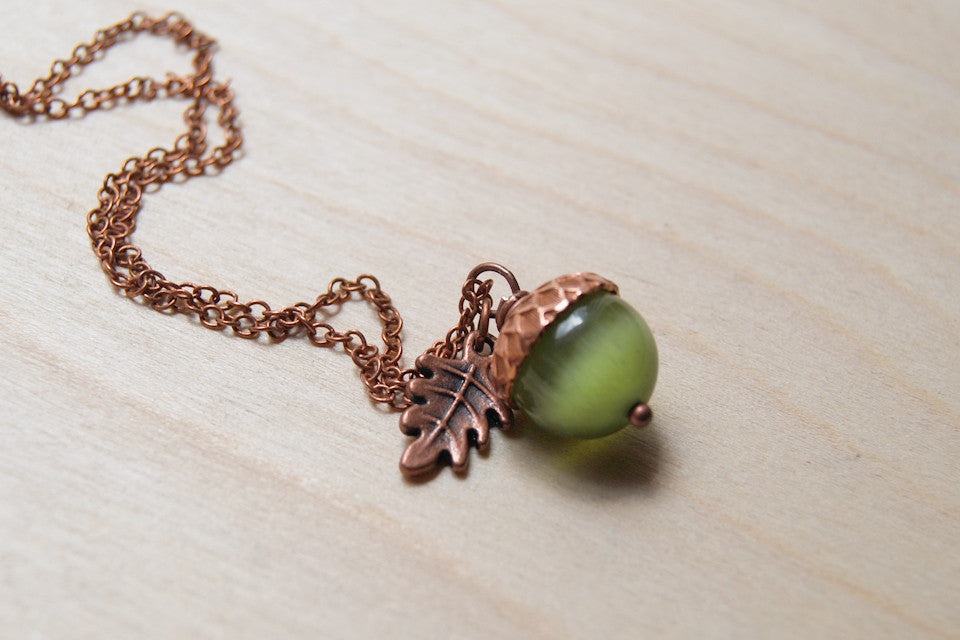 Moss & Copper Acorn Necklace | Nature Jewelry | Green Gemstone Acorn | Fall Acorn Charm Necklace - Enchanted Leaves - Nature Jewelry - Unique Handmade Gifts