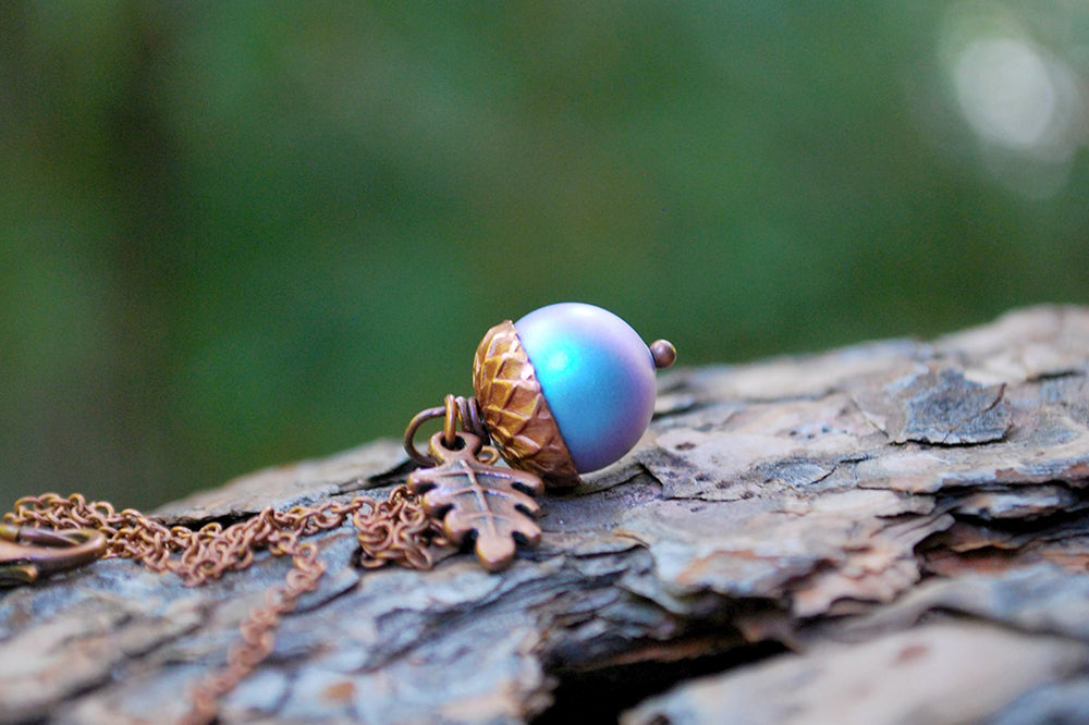 Tide Pool Magic Acorn Necklace | Iridescent Light Blue and Copper Acorn Pendant | Something Blue Wedding Jewelry | Fall Acorn Charm Necklace - Enchanted Leaves - Nature Jewelry - Unique Handmade Gifts