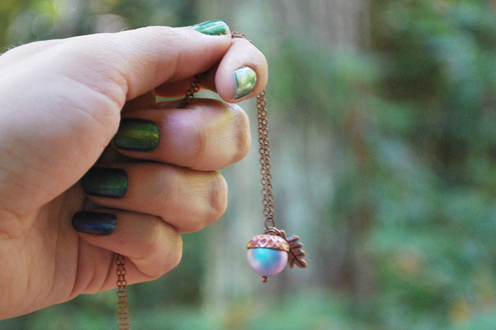 Copper Tide Pool Magic Acorn Necklace | Iridescent Blue Acorn | Something Blue Wedding Necklace - Enchanted Leaves - Nature Jewelry - Unique Handmade Gifts