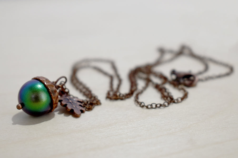 Copper Beetle Magic Acorn Necklace | Iridescent Rainbow Green Acorn Pendant | Forest Nature Jewelry - Enchanted Leaves - Nature Jewelry - Unique Handmade Gifts