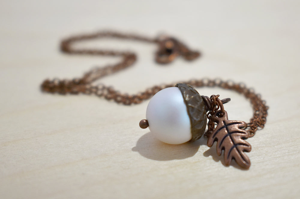 Faerie Magic Acorn Necklace | Iridescent White and Copper Acorn Pendant | Nature Jewelry | Fall Acorn Charm Necklace - Enchanted Leaves - Nature Jewelry - Unique Handmade Gifts
