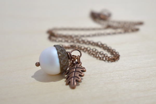 Copper Faerie Magic Acorn Necklace | Iridescent White Acorn Pendant | Forest Acorn Nature Jewelry - Enchanted Leaves - Nature Jewelry - Unique Handmade Gifts